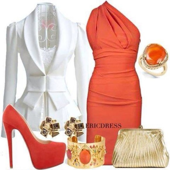 dress earings coat gold bracelets jewels bag orange dress shoes jacket