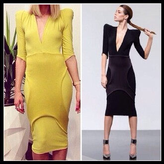 dress high fashion trends stunning dress sexy dress v neck dress black dress yellow dress shoulder pads calf length dress birthday dress party dress special occasion dress classy dress