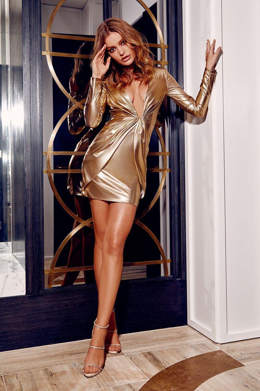 Hazel Low Cut Long Sleeve Mini Dress - Gold