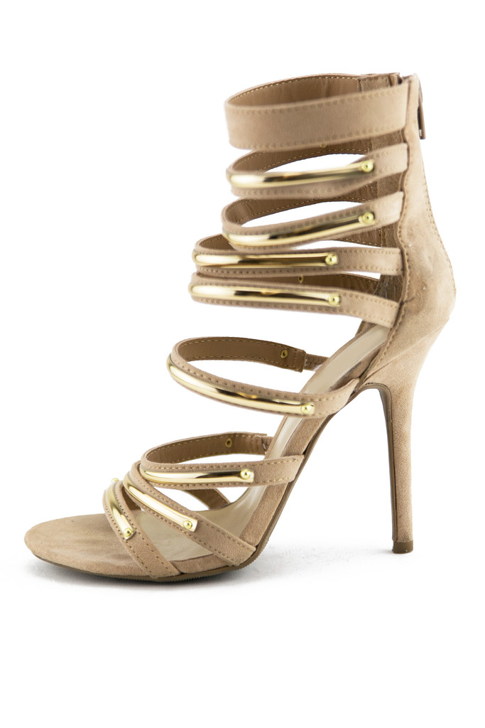 PLATED STRAPPY SANDAL HEEL - Taupe | Haute & Rebellious