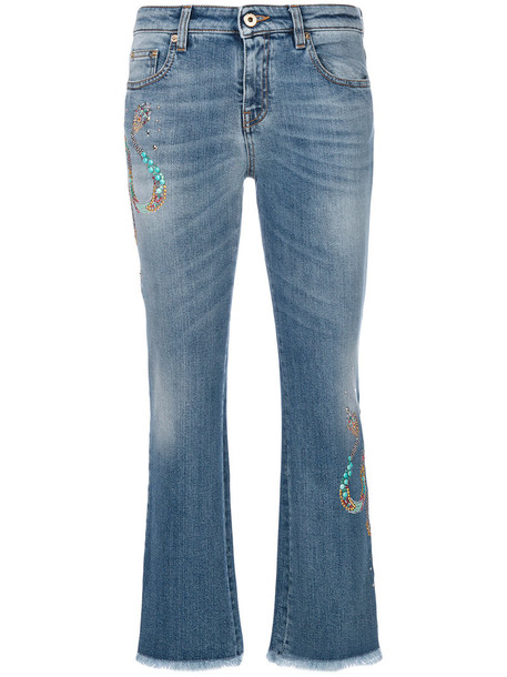 Roberto Cavalli jeans cropped jeans cropped women spandex cotton blue