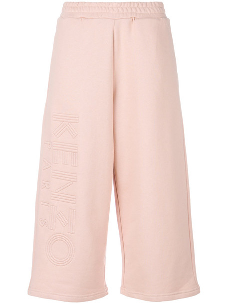 Kenzo culottes embroidered women cotton purple pink pants