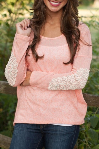 sweater peach cute casual fashion fall outfits girly style lace embroidered