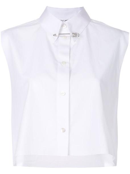 Helmut Lang shirt cropped shirt short cropped women white cotton top