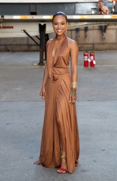 dress,gown,prom dress,wrap dress,sandals,karrueche,long prom dress,bracelets