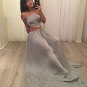 dress,greymaxidress,halter dress,satin