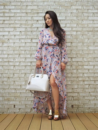 sensible stylista jewels shoes bag patent leather bag white bag handbag dress floral dress maxi dress wrap dress asymmetrical dress long sleeve dress sandals gold sandals necklace date outfit summer outfits summer dress patent bag floral wrap dress