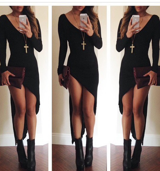 asymmetrical long dress long sleeve dress