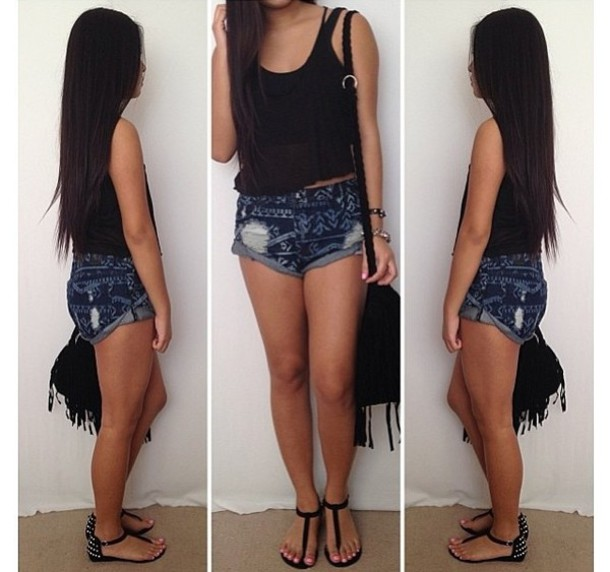 jean shorts and tank t...