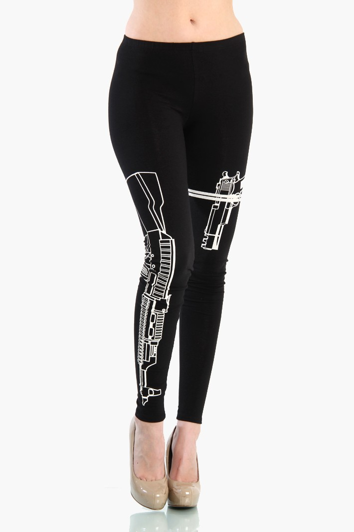 Machine Gun Graphic Machine Gun Leggings Black