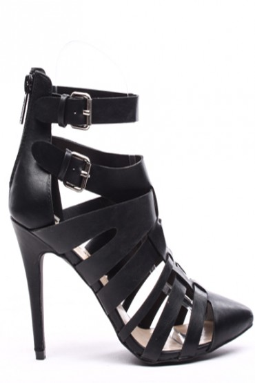BLACK FAUX LEATHER STRAPPY POINT TOE HEELS,Women's Heels-Sexy Heels,High Heels Pumps,6 Inch Heels,High Heels Shoes,Heels and Pumps,Platform Heels,Stiletto Heel,Fashion Heels,Prom Heels,6 Inch High Heels,Party Heels At LolliCouture