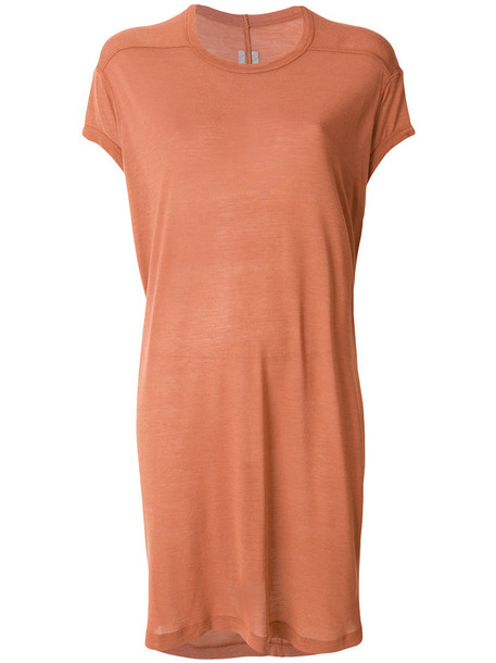 Rick Owens - long-line T-shirt - women - Silk/Viscose - 38, Yellow/Orange, Silk/Viscose