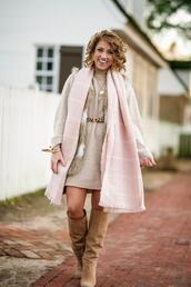 something delightful,blogger,sweater,dress,jacket,scarf,bag,shoes,jewels,belt,tights