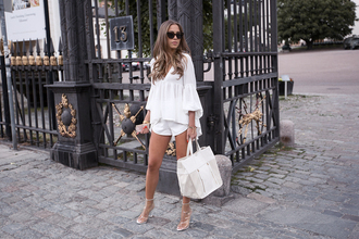 kenza blogger all white everything white blouse classy white bag white shorts