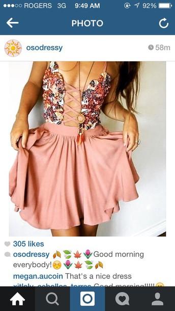 dress pink laced dress corset dress floral dress