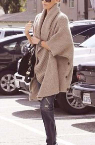 poncho knitwear shirt beige warm fall outfits