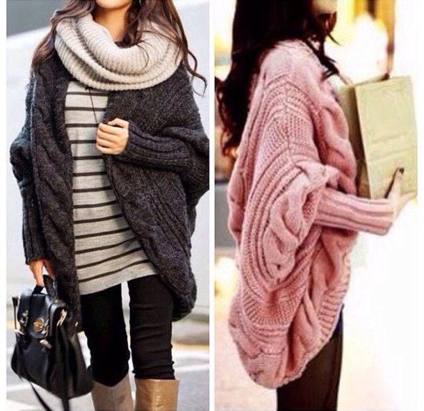 Sweater: fall outwear, black, pink, knitted scarf, oversized ...
