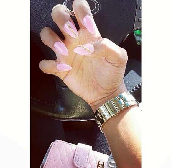 bright nail polish pink polish gold