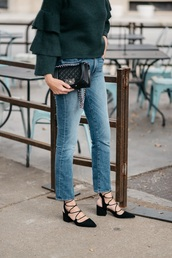 see jane,blogger,sweater,jeans,shoes,bag,sunglasses,mid heel pumps,green sweater,chanel bag,chanel,forest green,ruffle sweater,mid heel sandals,tumblr,slingbacks,lace up heels,denim,blue jeans,ruffle,black bag,chanel boy