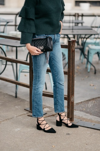 see jane blogger sweater jeans shoes bag sunglasses mid heel pumps green sweater chanel bag chanel forest green ruffle sweater mid heel sandals tumblr slingbacks lace up heels denim blue jeans ruffle black bag chanel boy