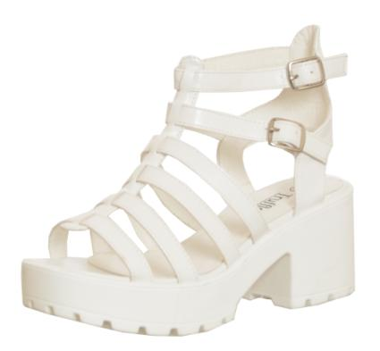 Strappy Buckle Block Heel Sandal White: White - £24.99 - Sandals / Flip Flops from Peppermint