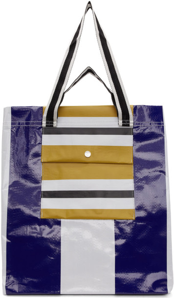 white blue blue and white bag