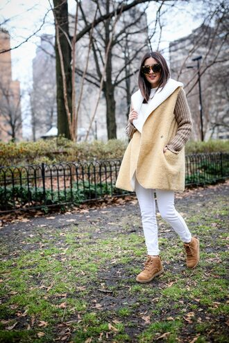 the material girl blogger sweater jeans shoes sunglasses cardigan winter outfits shearling jacket boots