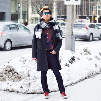 alexander liang blogger shirt jeans coat shoes scarf sunglasses