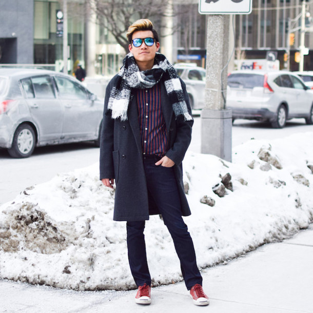 alexander liang blogger mens coat knitted scarf striped shirt shirt jeans coat shoes scarf sunglasses mens knitted scarf