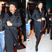 coat,rihanna,fall outfits,beret