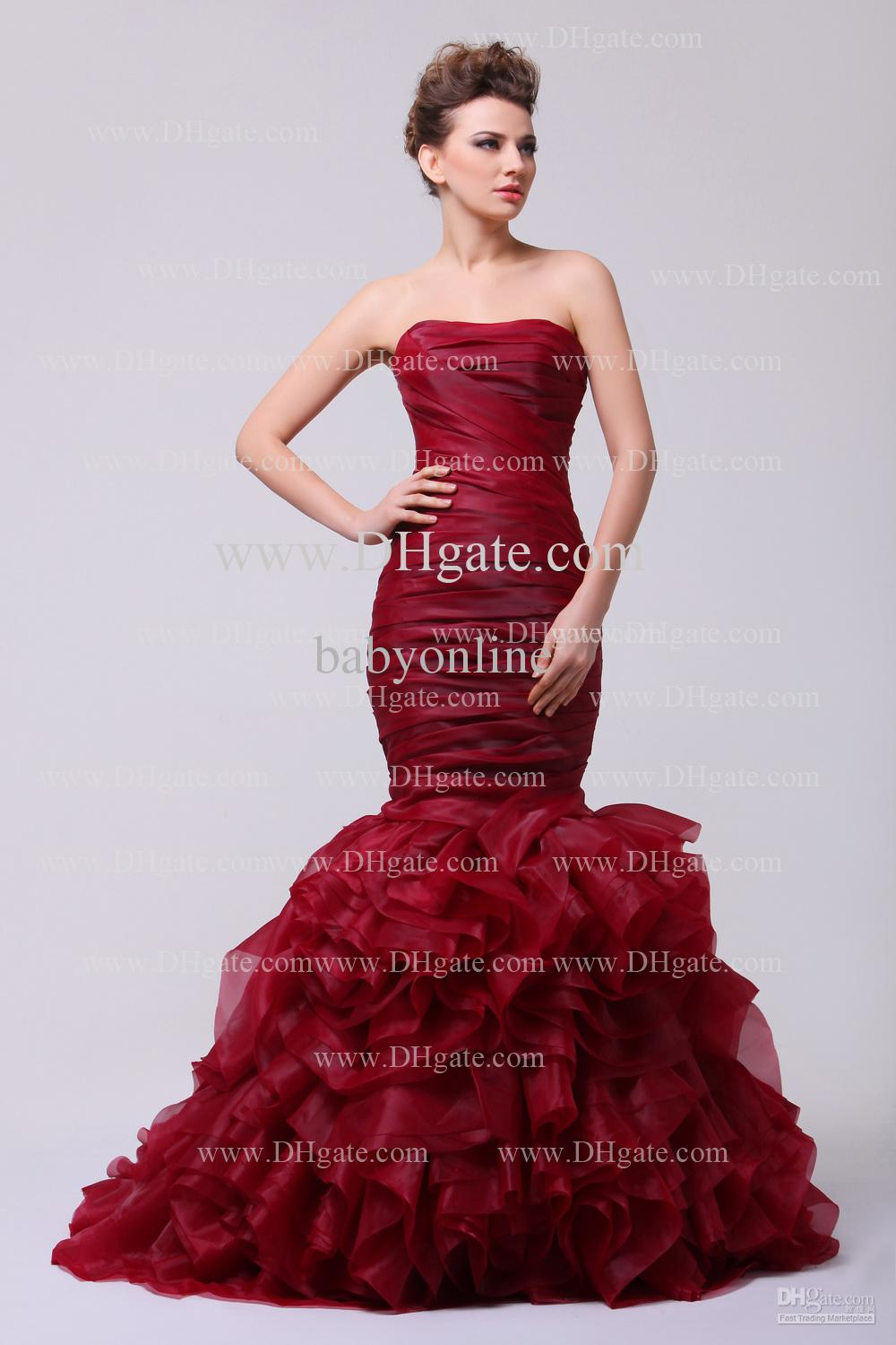 Wholesale Pageant Dresses - Buy 2014 Graceful Sexy Wine Red Mermaid Pageant Dresses Strapless Sleeveless Ruched Ruffles Backless Floor Length Organza Prom Dresses 0109, $153.75 | DHgate