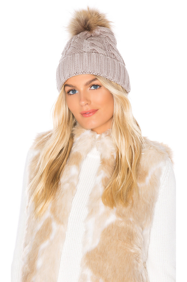 Soia & Kyo Amalie Beanie With Fur Pom in gray