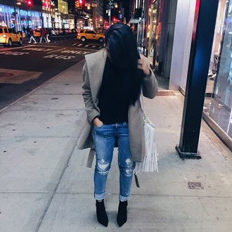 jeans boyfriend jeans beige coat nyc ripped jeans new york city