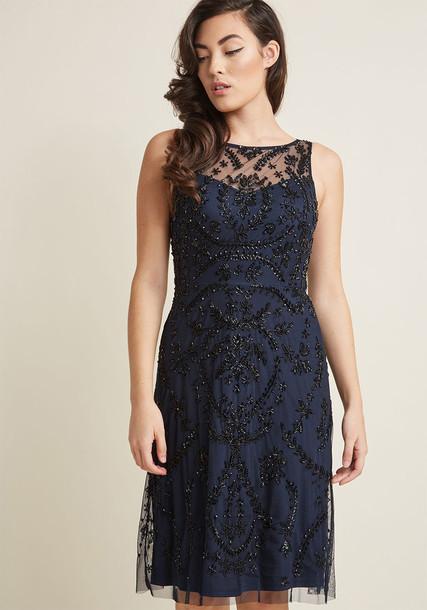 Adrianna Papell dress beaded blue
