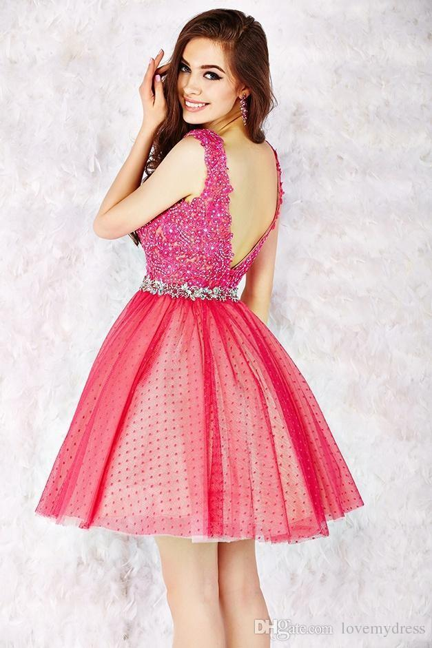 Square Neck Short Backless Dress Red Prom Dress Sleeveless Appliques ...