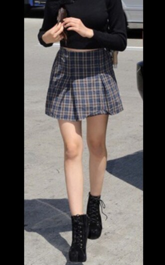skirt black boots ankle boots camila cabello plaid skirt