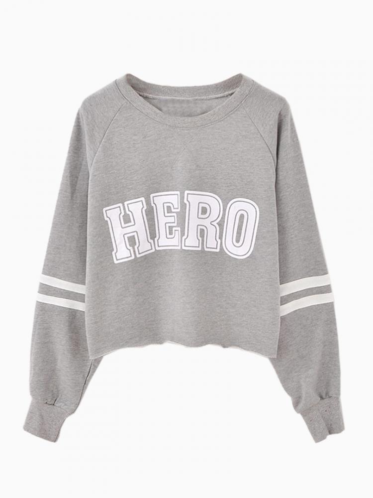 Gray Crop Sweatshirt In Hero Print | Choies