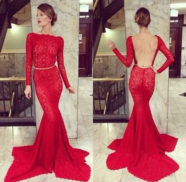 Buy diyouth.com open back long sleeve red lace formal evening dress cheap prom dress special occasion dresses under $169.99 only in diyouth. open b…