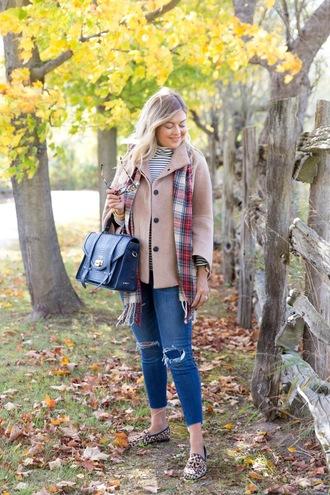 suburban faux-pas blogger jeans scarf shoes bag sunglasses jewels fall outfits handbag loafers satchel bag beige coat coat