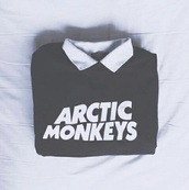 sweater,black,arctic monkeys,alternative,band t-shirt,grunge,hiptser,music,indie rock,shirt,white