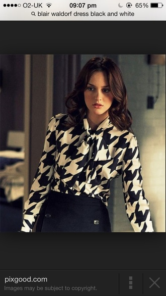 blouse black and white blair waldorf checkered classy