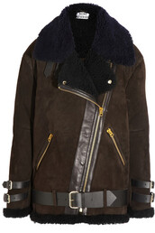 coat,acne studios,shearling,aviator sunglasses