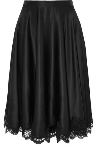 skirt lace black silk satin