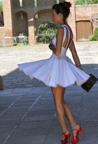 dress white dress summer summer dress races dress white classy marilyn monroe flowy dress open back cocktail dress red sandals red high heel sandals bag black bag sandals