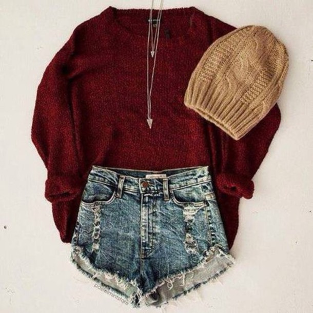 hat jewels shorts sweater