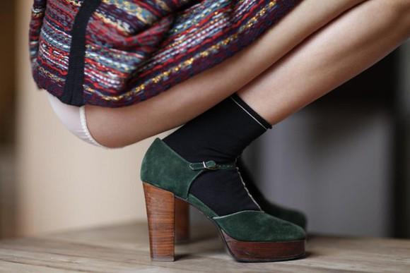 shoes wooden heel stilettos socks panties t-strap heels forest green