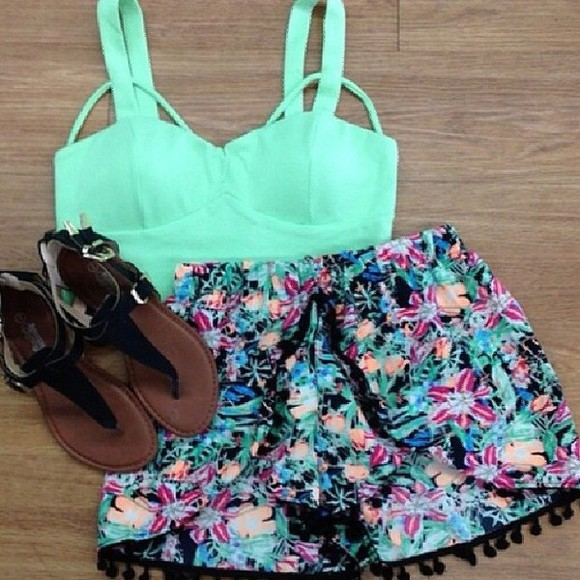 floral skirt top sandals fluor shoes crop tops mint shorts turquoise turquoise crop top tribal pattern floral shorts