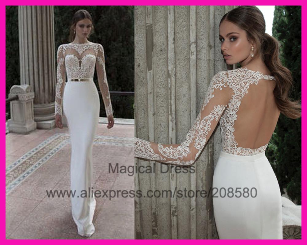 2014 See Through Muslim Lace Mermaid Long Sleeve Wedding Dress ...