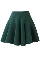 skirt,airy,quilt,pleated,skater skirt,green