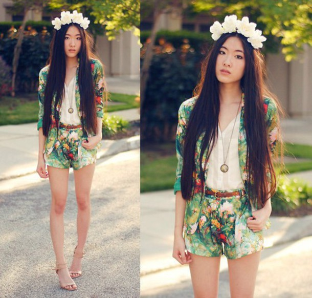 jacket flower child boho fashion flowers floral print two-piece shorts